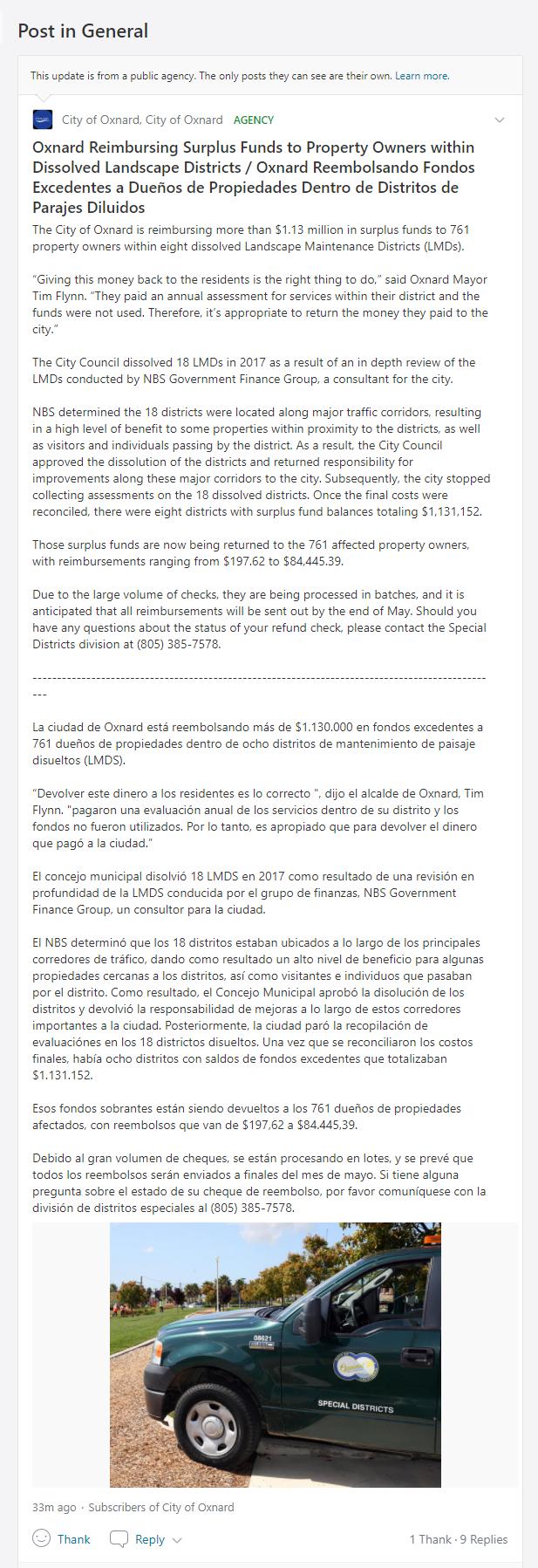Oxnard Reimburses Homeowners; Oxnard reembolsa a los propietarios de viviendas